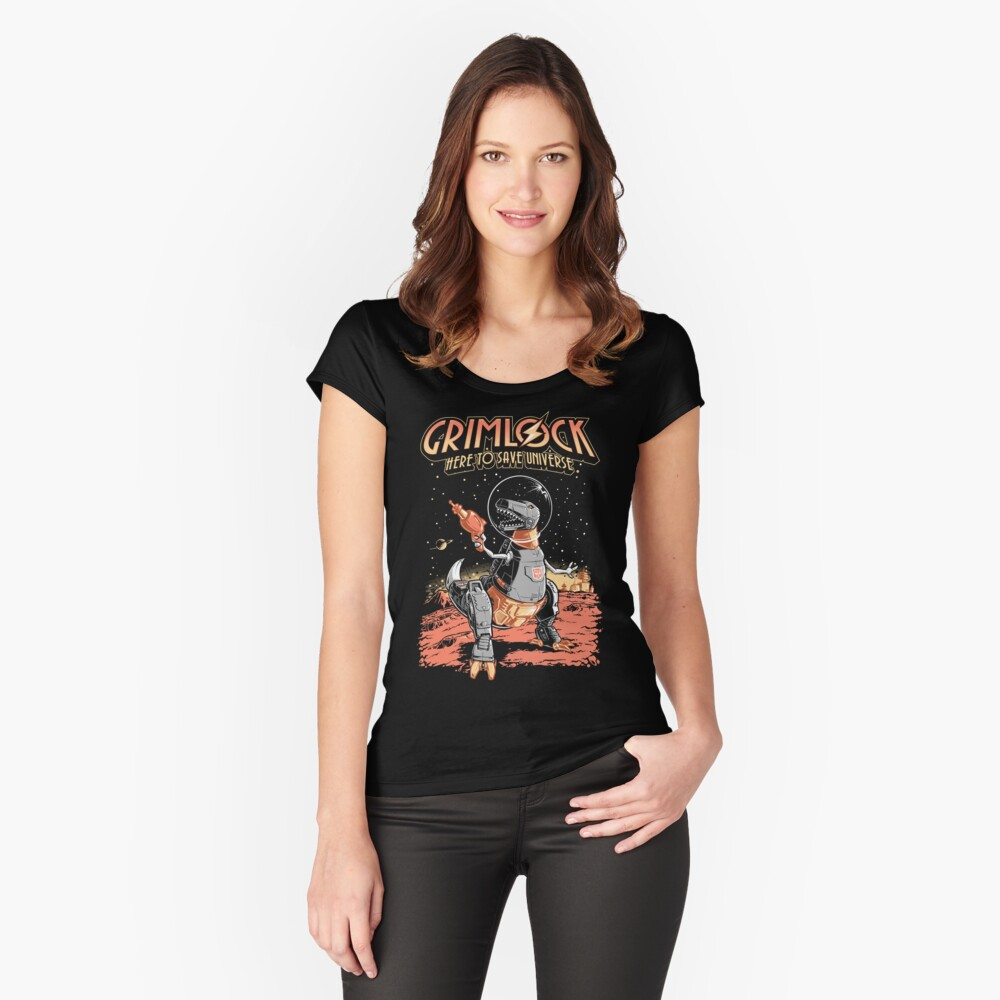 Space Pulp Robot Dinosaur Hero Fitted Scoop T-Shirt