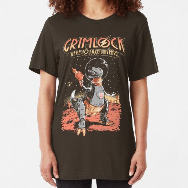 Space Pulp Robot Dinosaur Hero Slim Fit T-Shirt