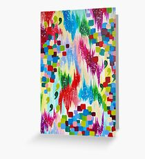 'TIS THE SEASON - Cheerful Christmas Seasonal Holidays Abstract Acrylic Painting Chevron Snow  Greeting Card