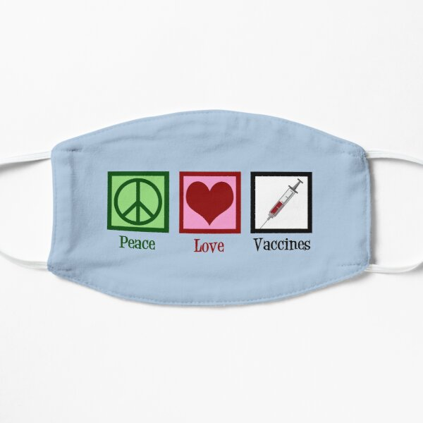 Peace Love Vaccines Flat Mask
