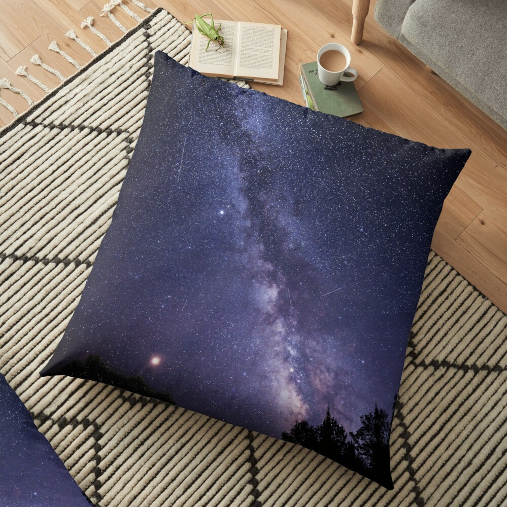 Perseid Meteor Shower and the Milky Way Floor Pillow