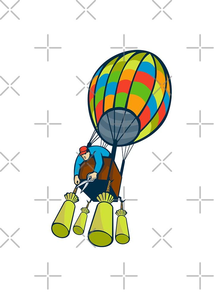 Man Cutting Ballast Hot Air Balloon  by retrovectors