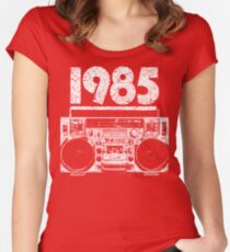 1985 Boombox Distressed Graphic Women's Fitted Scoop T-Shirt