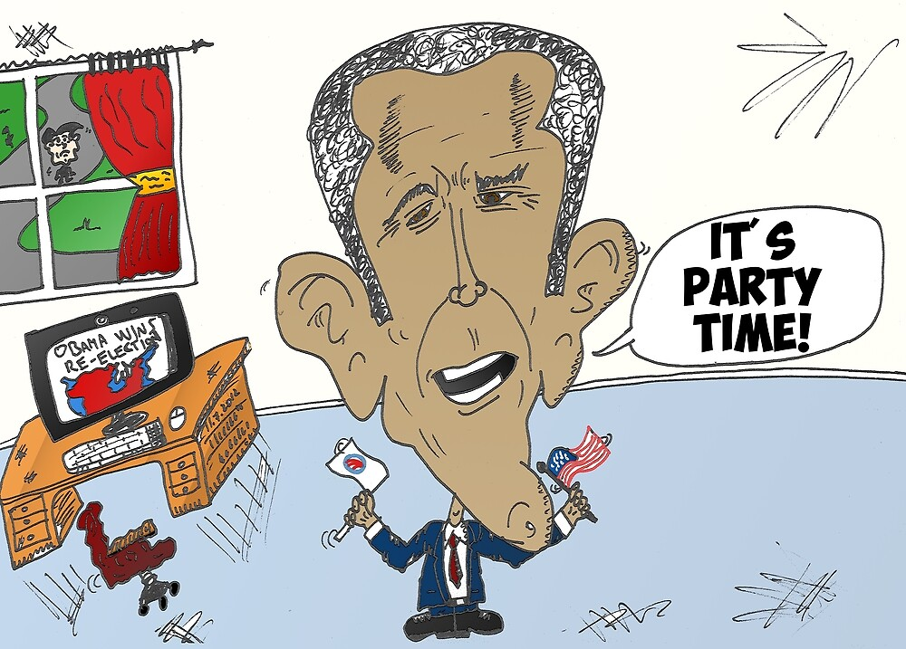 Victorious Barack Obama caricature by Binary-Options