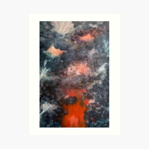 Watercolour painting of a pyroclastic lightning ash cloud over an erupting volcano Art Print