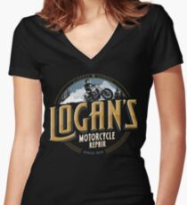 Logan's Motorcycle Repair Women's Fitted V-Neck T-Shirt