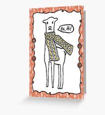 Oh hi cute doodle llama knitting crochet scarf Christmas Greeting Card