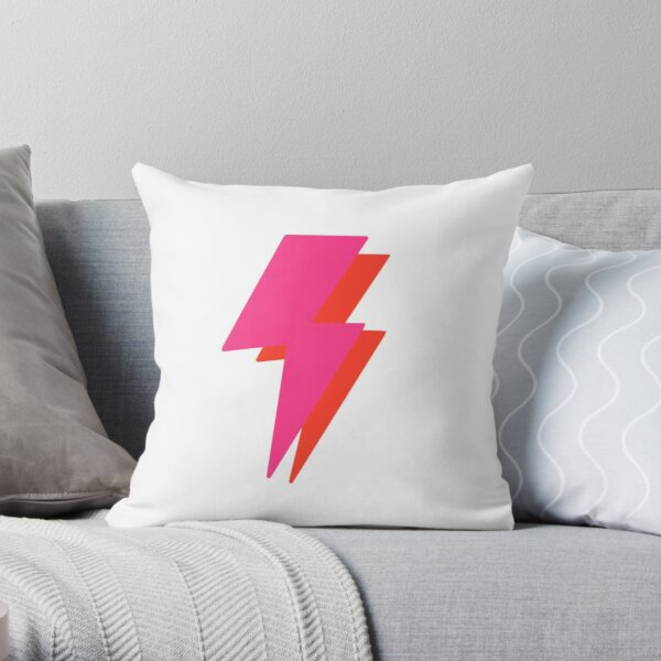 neon lightning bolt  Throw Pillow