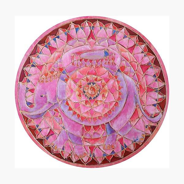 Amor (love) elephant free-hand mandala Photographic Print