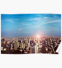 Sunset in the city Poster