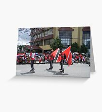 Roller Skaters Carrying The Flag Greeting Card
