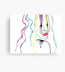 Woman Paint Drips Portrait Canvas Print