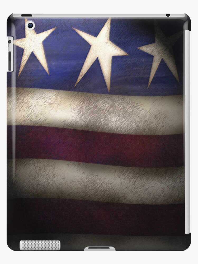Americana, Red, White & Blue Grunge iPad Case by CheriesArt