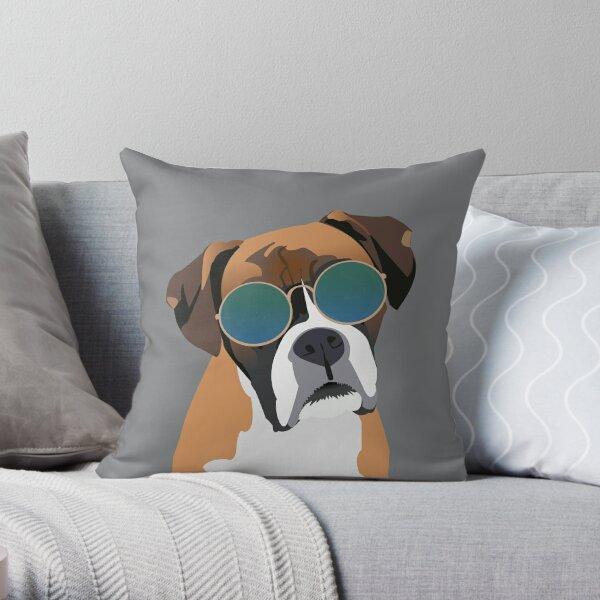 Boxer Dog wearing Sunglasses Throw Pillow