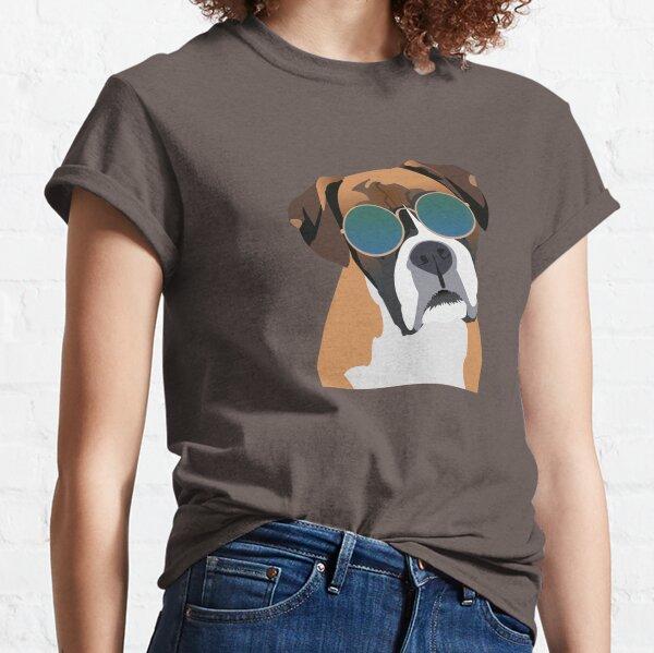 Perro Boxer con gafas de sol Camiseta clásica