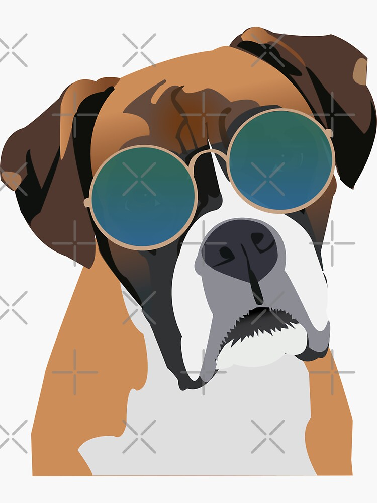 Boxer Dog wearing Sunglasses by KCPetPortraits
