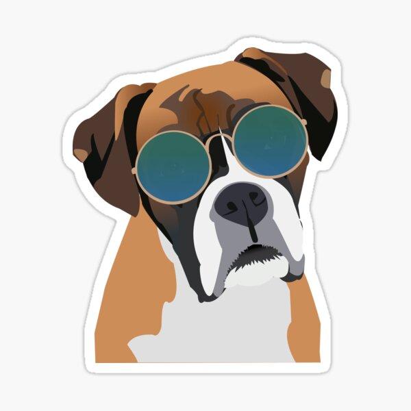 Perro Boxer con gafas de sol Pegatina