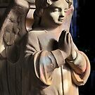 Praying angel greetings card by Dave Lawrance