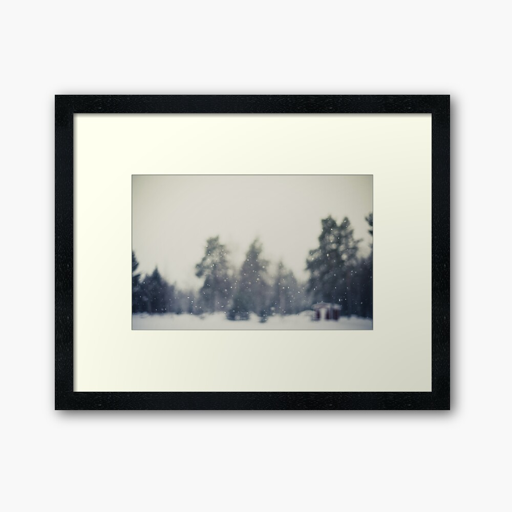 Falling snow Framed Art Print