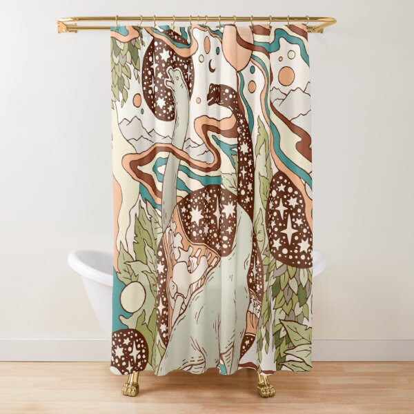 Jurassic Portal | Retro Rainbow Palette | Dinosaur Science Fiction Art Shower Curtain