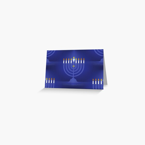 blue happy hannukah Greeting Card
