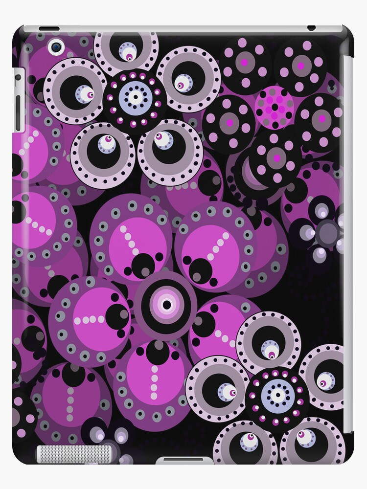 Violet and Black Fantasy Flowers iPad Case by CheriesArt
