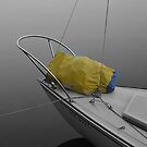 sailboat deck at dawn, still water by David Galson