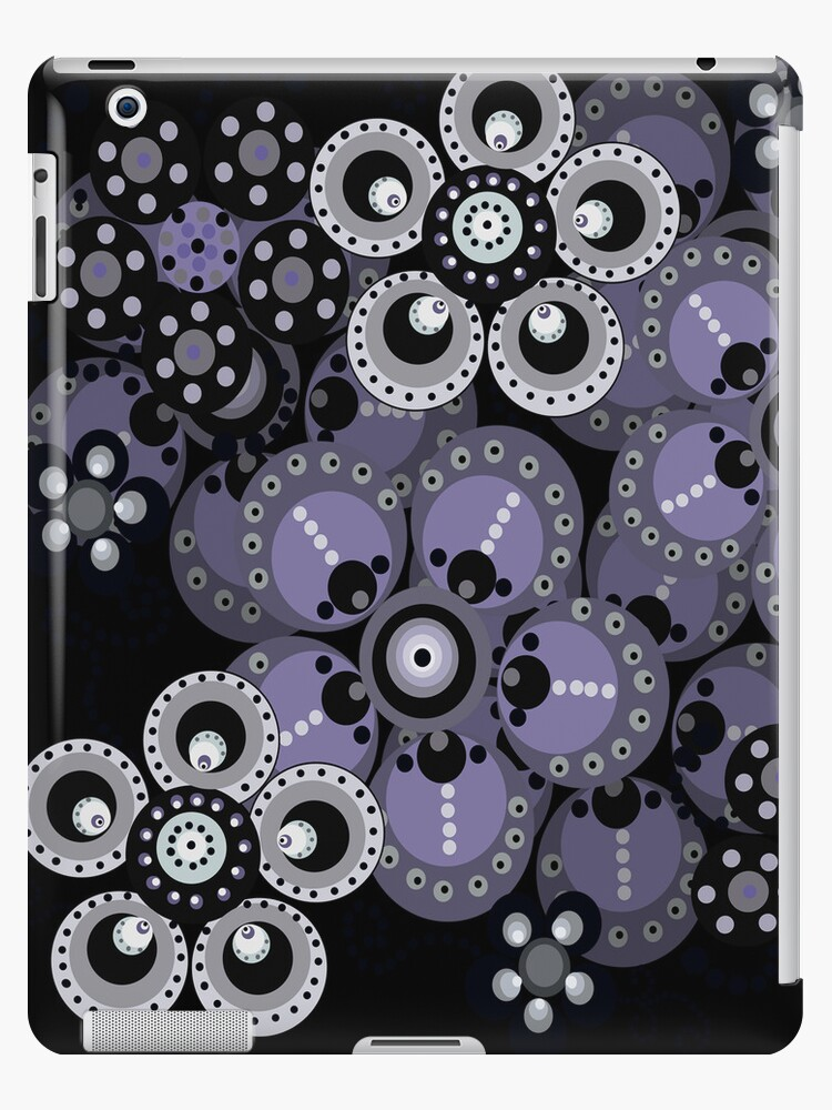 Periwinkle and Gray Fantasy Flowers iPad Case by CheriesArt