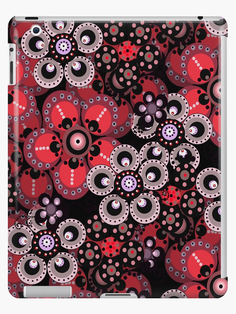 Red, Gray and Black Fantasy Flowers iPad Case by CheriesArt
