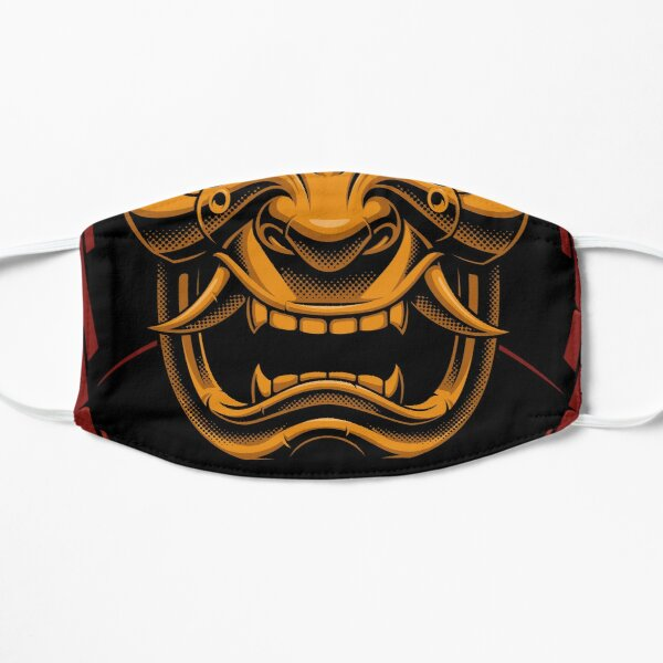 Fiery Demon Samurai Helmet  Flat Mask
