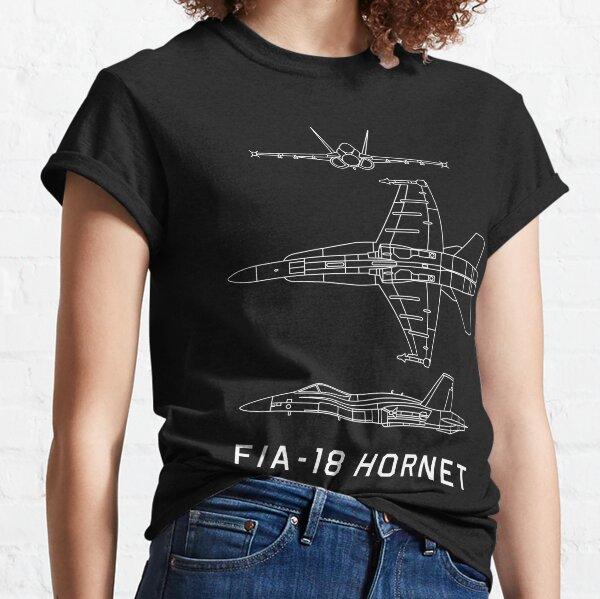 F/A-18 Hornet US Navy Military Multi Role Jet Plane Blueprint Gift Classic T-Shirt