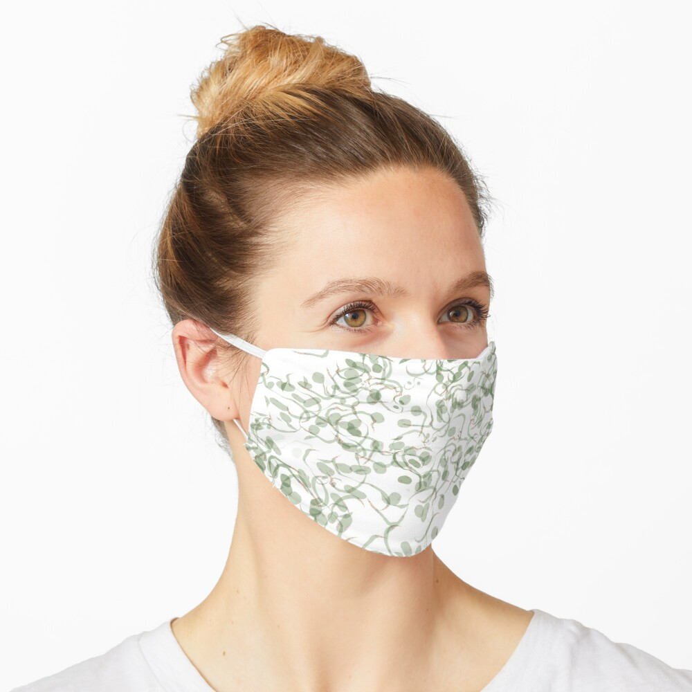 Green Vines and Leaves Pattern Mask