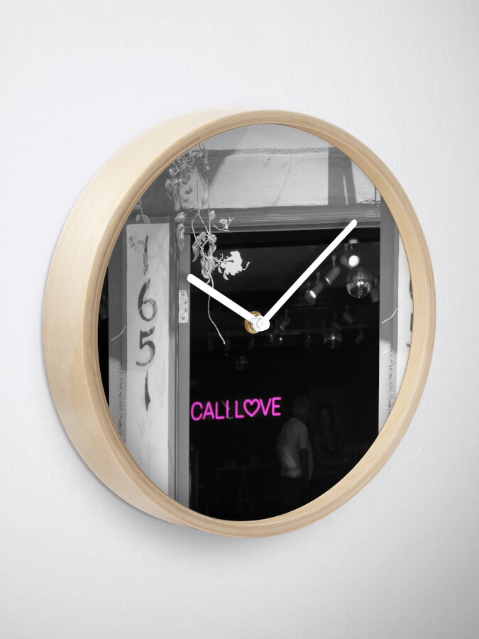 Alternate view of Cali Love Neon Sign in Darkened Bar Hot Pink Selective Coloring Clock
