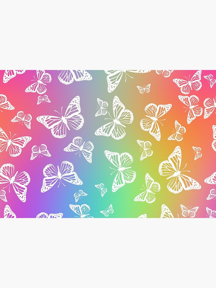 White Butterflies on Rainbow Colored Background Pattern by RootSquare