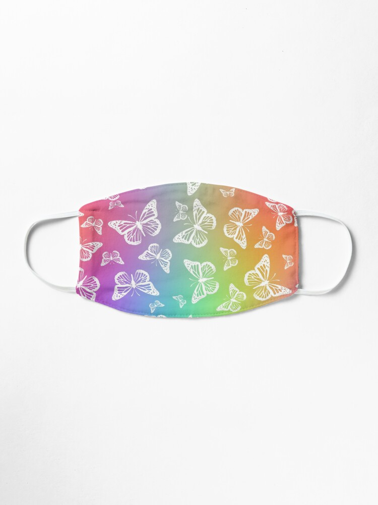 Alternate view of White Butterflies on Rainbow Colored Background Pattern Mask
