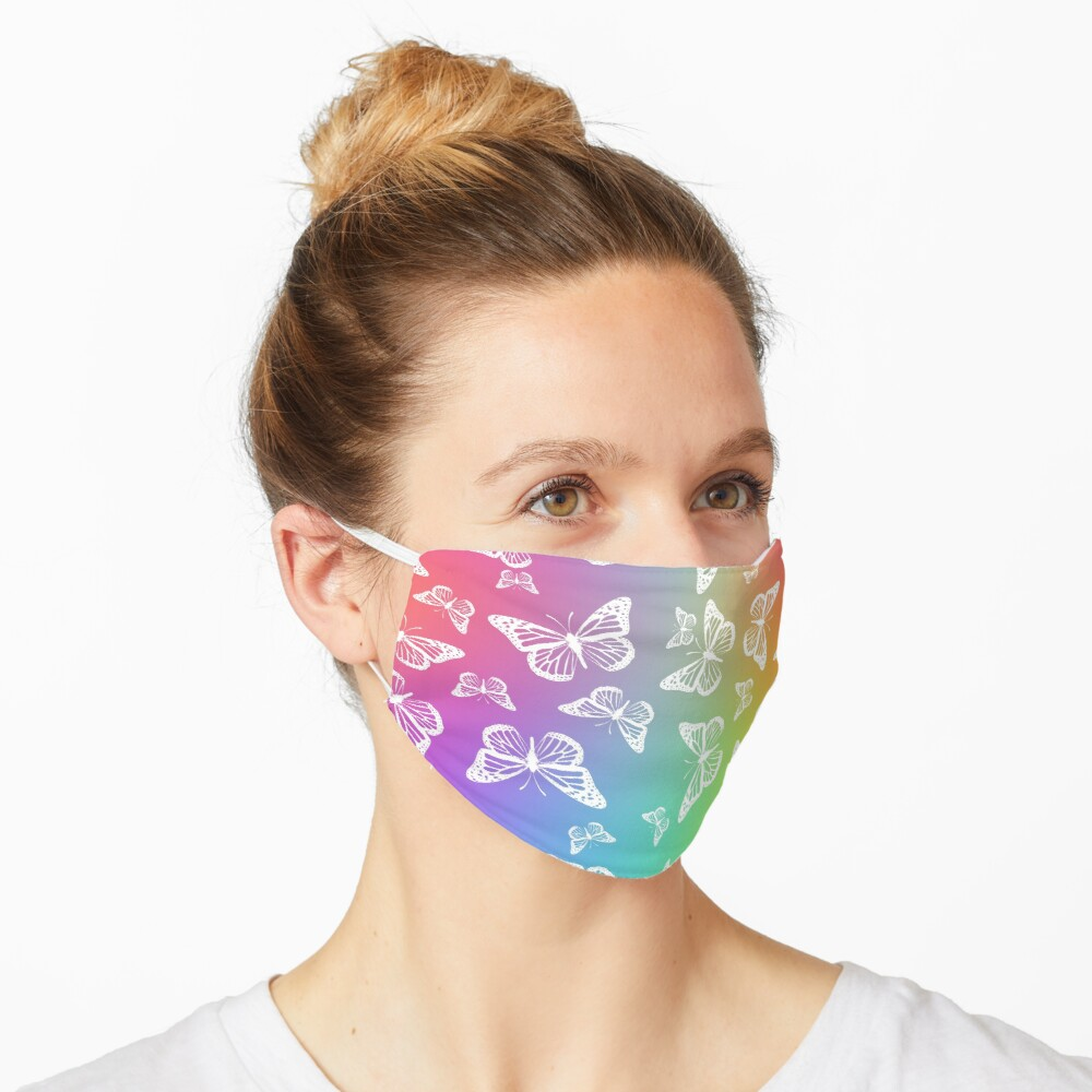 White Butterflies on Rainbow Colored Background Pattern Mask
