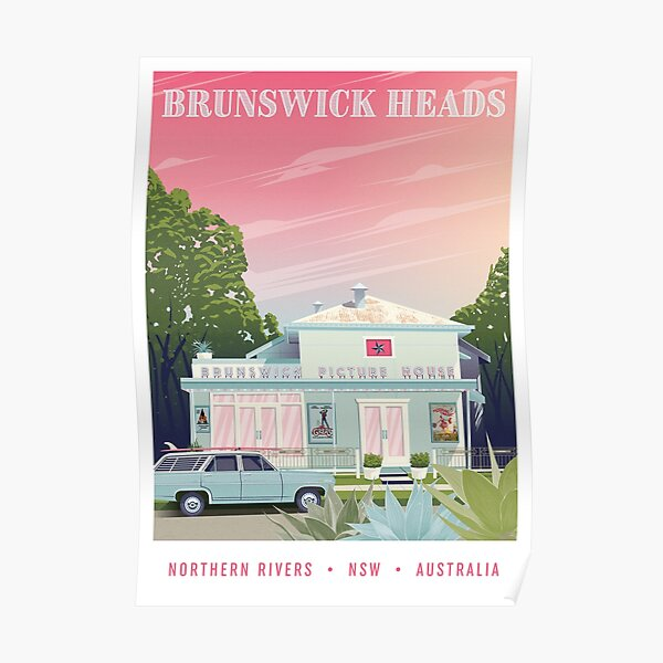 A travel poster of the famous Brunswick Picture House in Brunswick Heads, New South Wales, Australia. Poster