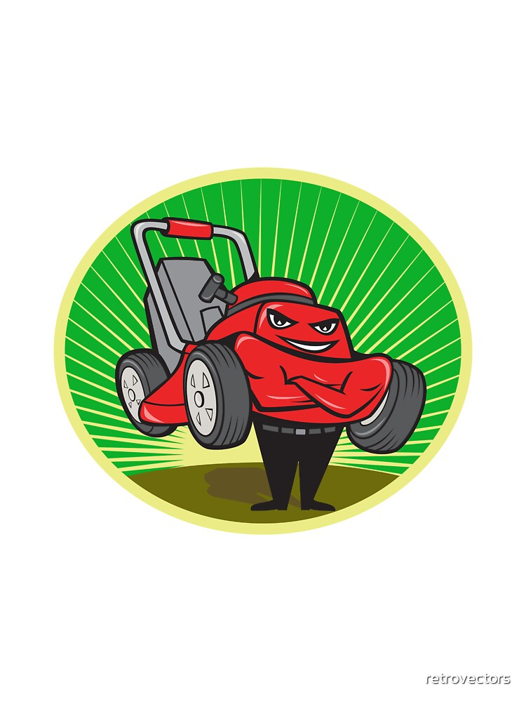 Lawn Mower Man Cartoon Oval  by retrovectors
