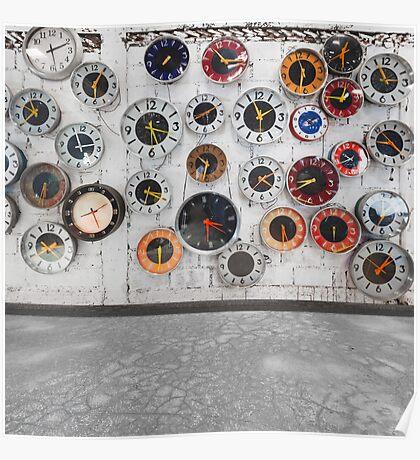 Retro clocks on the wall Poster