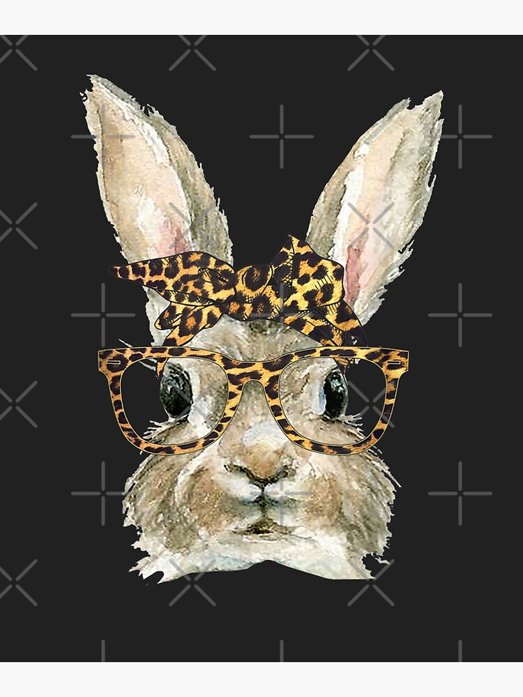 Bunny Rabbit Glasses Leopard Print Bow Funny Hipster Easter by LolanWilson