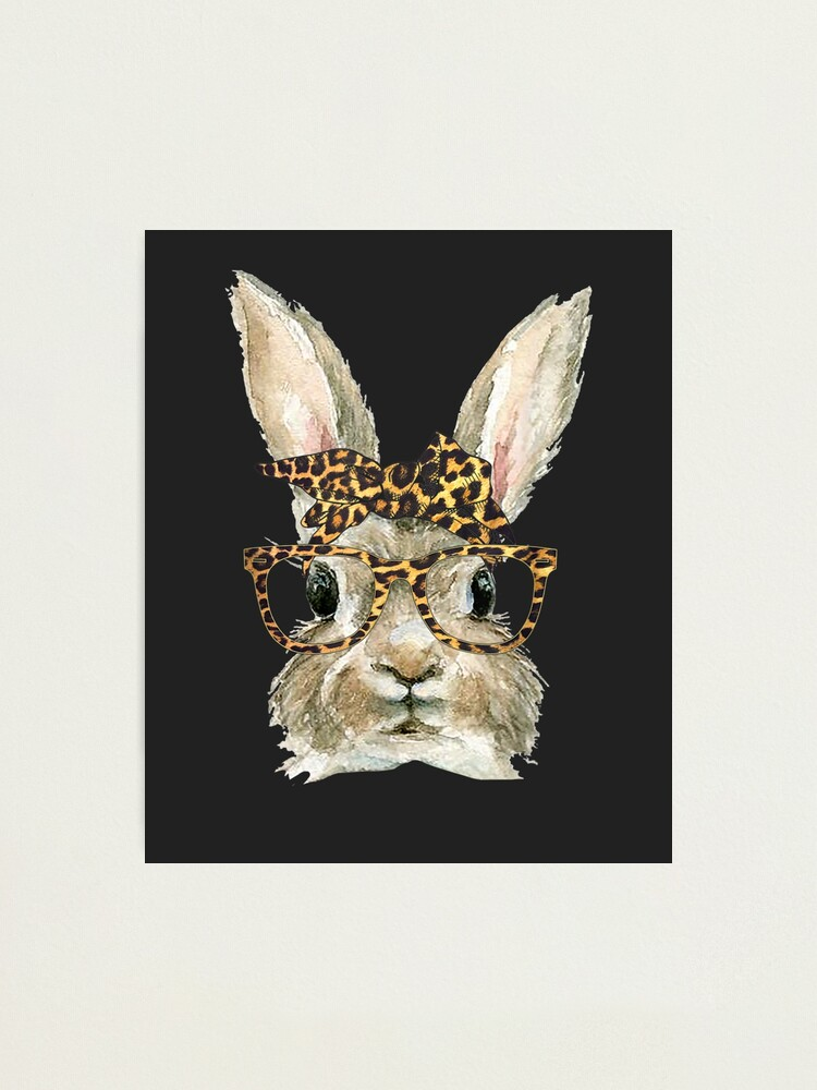 Alternate view of Bunny Rabbit Glasses Leopard Print Bow Funny Hipster Easter Photographic Print