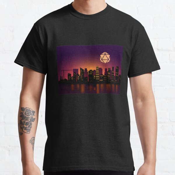 Synthwave Futuristic City D20 Dice Moon Tabletop RPG Maps and Landscapes Classic T-Shirt