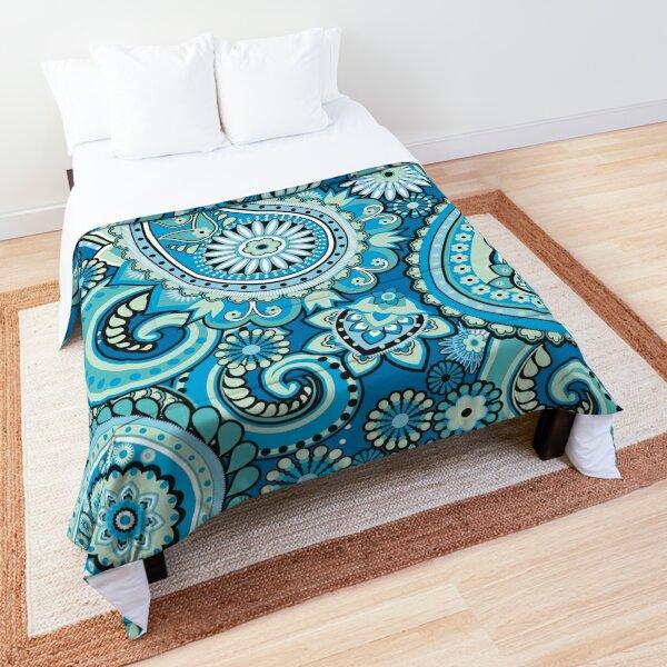 Blue Floral Paisley Pattern Texture Comforter