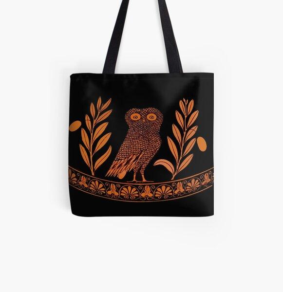 Attic Rotfigur Kalpis Owl Athena Olive Allover-Print Tote Bag