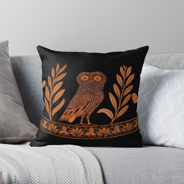 Attic Red-Figure Kalpis Owl Athena Olive Throw Pillow