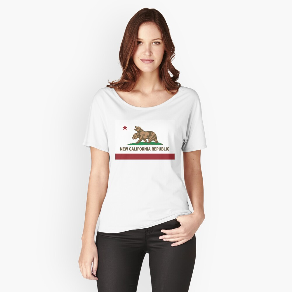 New California Republik Flagge Distressed Loose Fit T-Shirt