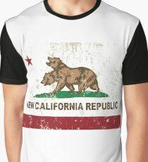 New California Republic Flag Distressed Graphic T-Shirt