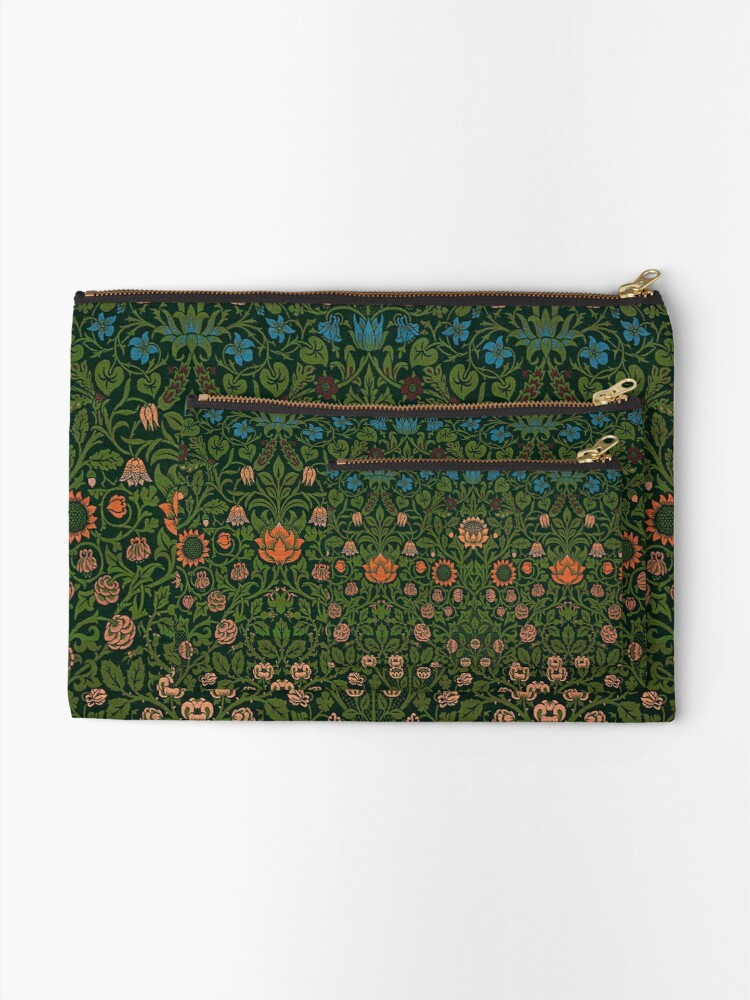Alternate view of Violet and Columbine by William Morris, 1883 Zipper Pouch