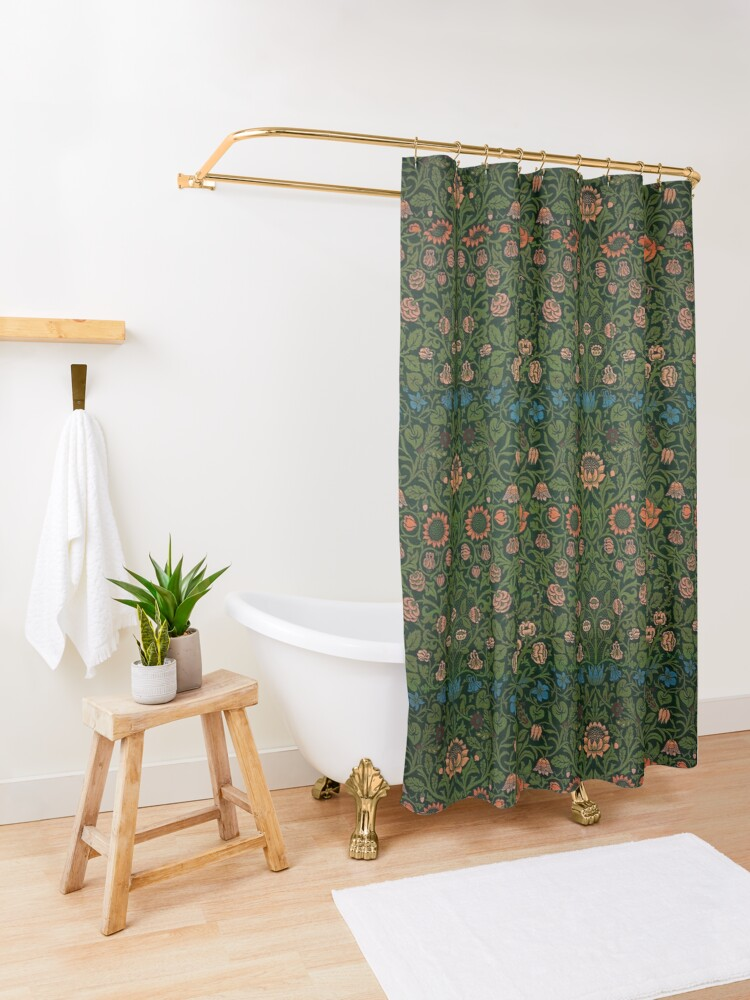 Alternate view of Violet and Columbine by William Morris, 1883 Shower Curtain