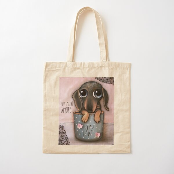 Dachshund inside a cup of Love Cotton Tote Bag